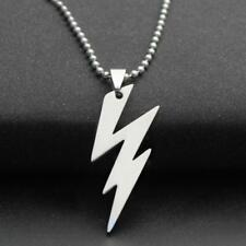STAINLESS STEEL LIGHTNING BOLT NECKLACE 316L Metal Pendant 70cm Ball Chain NEW