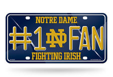 UNIVERSITY OF NOTRE DAME # 1 FAN  METAL LICENSE PLATE NEW & OFFICIALLY LICENSED