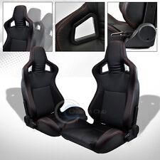 2X UNIVERSAL MU BLACK PVC LEATHER w/RED STITCHES RACING BUCKET SEATS+SLIDERS C06