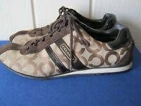 Coach KATHLEEN Brown Jacquard / Suede Womens Sneakers Shoes Sz 9 GUC