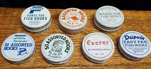 Vintage Fishing Hook Tins - LOT OF 7 - Pflueger, Dolphin, Exeter, Folsom w Hooks