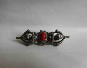 Antique Tibet TOP HIGH AGED SILVER BUDDHIST VAJRA WITH RED CORAL TURQUOISE INLAY