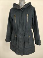 WOMENS NEW LOOK NAVY BLUE PARKA COAT JACKET HOODED UK 10