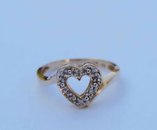 Ladies Genuine Round Diamond Open Heart Ring w/ 6 Diamonds  - 10K Yellow Gold
