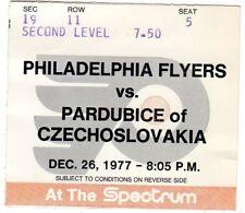 1977  PARDUBICE CZECH REPUBLIC @ PHILADELPHIA FLYERS TICKET STUB EXHIBITION
