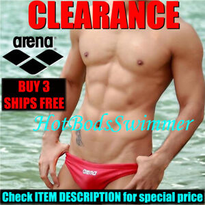 CLEARANCE Arena Men's Low-Rise Competition Speedo Swimwear Swimsuit Racer Briefs