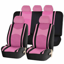 PINK & BK HONEYCOMB AIRBAG READY SPLIT BENCH SEAT COVERS 6PC SET FOR CARS 1143