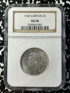 1944 Great Britain 2 Shillings NGC AU58 Lot#BB71 Silver!