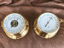 Vintage West German Schatz Ship Brass Maritime Barometer + Rare Hair Hygrometer