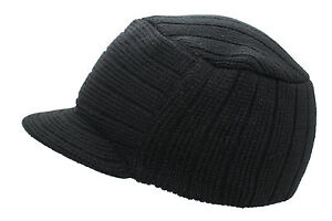 Winter Knitted Peaked Beanie Black Curved Peak Urban Ski Hat One Size