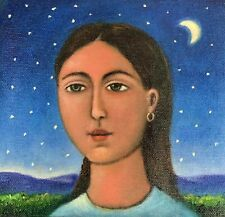Beautiful painting girl moon light starry night Mexican artist Esau Andrade