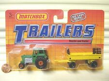 MATCHBOX 1990 TP108 Green Tractor + Yellow Hay Trailer Two Pack Nu +Unopened Pkg