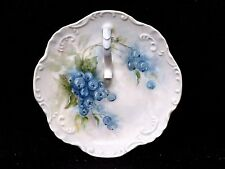 Antique Beautifully Hand Painted Blueberry Design Finger Loop Dish Signed