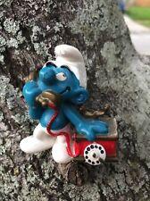 Vintage Mini Rotary Dial Telephone Smurf 1980 PVC Rubber Peyo Schleich Figure
