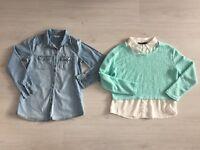 GIRLS BUNDLE AGE 12 - 13 YRS: TAMMY STAR PRINT DENIM SHIRT & SHIRT JUMPER COMBO
