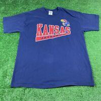 Vintage 90's Pro Player Kansas Jayhawks Size XXL Men's T Shirt Blue Graphic