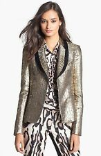 Size 6 Diane Von Furstenberg Ofelia Black/Gold Metallic Jacket Blazer NWT $498