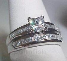 925 SOLID STERLING SILVER PRINCESS CUTS WEDDING ENGAGEMENT RING SET SIZE 8