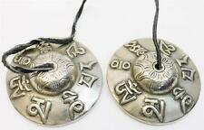 "F663 AUSPICIOUS SYMBOL TIBETAN TINGSHA~CYMBALS-  3"" HAND CRAFTED IN NEPAL"