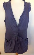 YARRA TRAIL Lilac Mauve Sleeveless Frill Edge 100% Linen Button Front Top 12