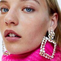 Ladies Fashion Square Dangle Earrings Round Ear Studs Geometry Drop Earrings Hot