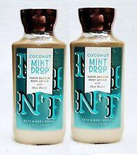 2 Bath & Body Works COCONUT MINT DROP Super Smooth Body Lotion Cream 8 oz