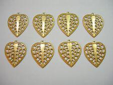 Raw Brass Victorian Filigree Heart Earring Findings Drops - 8