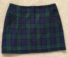 TOPSHOP Navy Green Tartan Check Mini Skirt Size 10