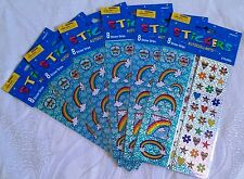 6 Packs - 8 Strips Per Pack Prismatic Rainbow Stickers, Hearts, Flowers, Stars