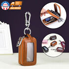 Genuine-Leather-Car-Key-Chain-Ring-Dual-Holder-Pouch-Case-Organizer-Bag-Wallet