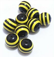 20mm Black & Yellow Bee Striped Chunky Beads - Pack Of 10