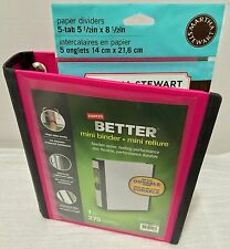 "Staples Better Mini Binder, 5.5"" x 8.5"" with 5 Tab Martha Stewart Paper Dividers"