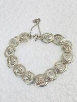 Vintage Engraved Sterling Silver Fleur De Lis Paneled Bracelet