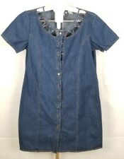 Women's Sears Together Beaded Collar Cutouts Denim Jean Dress Size 16