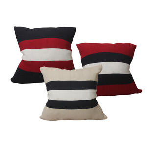 CURCYA Cotton Knitted Throw Pillow Cover Stripe Weave Pillow Case Cushion Cover