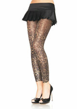 BEAUTIFUL LEOPARD GOLD LUREX SHIMMER FOOTLESS TIGHTS METALLIC BURLESQUE GLAMOUR