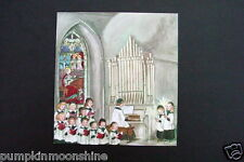 #I 403-  Vintage Unused Tasha Tudor Xmas Greeting Card Boys Choir at Church