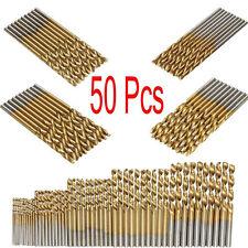 50PC Titanium Coated HSS High Speed Steel Drill Bit Set Tools 1/1.5/2/2.5/3mm RF