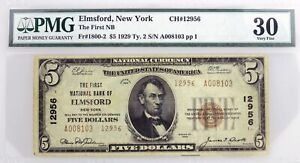 1929 $5 First National Bank Of Elmsford NY CH#12956 Fr#1800-2 Type 2 PMG VF30