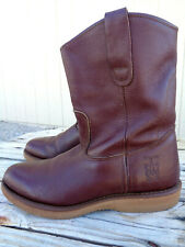 Rhino Brown Leather Casual Work Pull On Oil Resistant Cowboy Boots Men's  9 EE