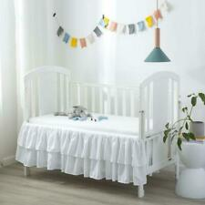 Crib Skirt Bed Dust Ruffle Double Layer Nursery for Baby Toddler Girls Boys