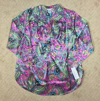 NWT Women's Silhouettes Status Print Paisley Split Neck Popover Tunic Top