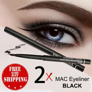 2 pcs BLACK Eye Liner MAC Retractable Waterproof Eyeliner Pencil Pen - USA