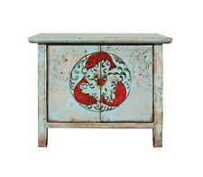 Chinese Distressed Light Pale Blue Fishes Graphic Table Cabinet cs3929