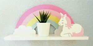 Sass & Belle Rainbow Unicorn Childrens Shelf Kids Room Wooden Shelf Storage