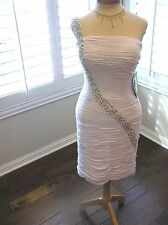 NWT JS Boutique prom cocktail social party One shoulder pearl beaded dress 6