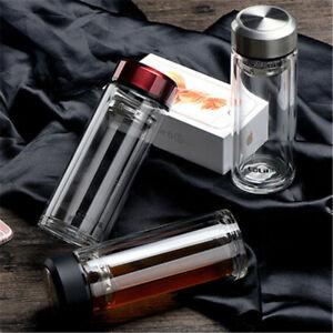 Portable Tea Infuser Bottle Double Glass Water Lid Bottle Hot Transparent Filter