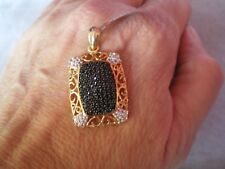 Black Spinel & Topaz pendant, 1.75 carats, in 4 grams of gold plated Sterling Si
