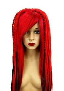 Red & Black Full Synthetic Dread Wig, 16 - 18 Inches, Unisex, One Size.