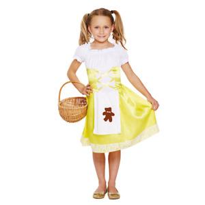 Girls Goldilocks Costume Book Week Fancy Dress Outfit Halloween Party Storybook